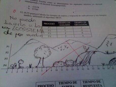 Respuesta graciosa ante un examen con dibujos de un ecosistema