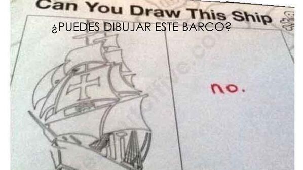 Respuesta ante la pregunta de un examen con un dibujo de un barco