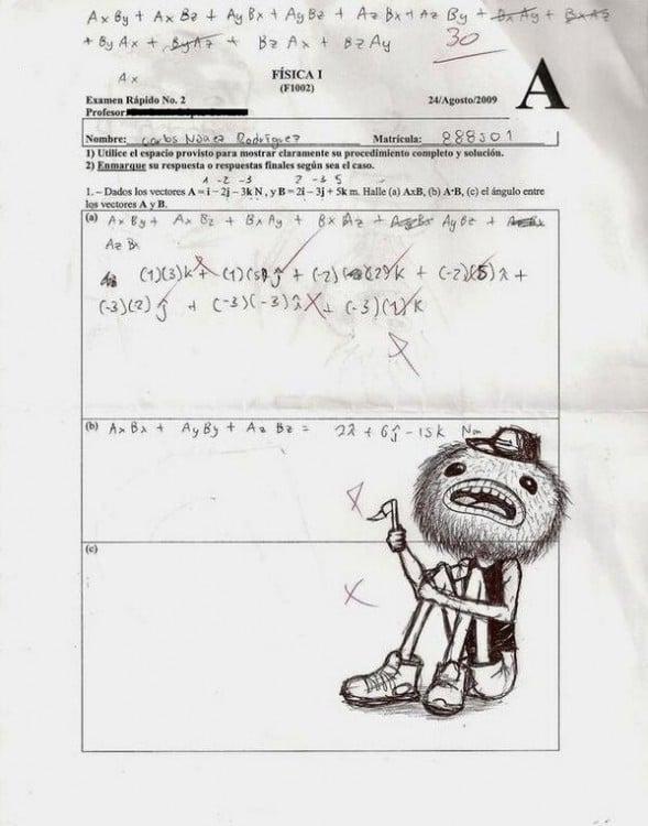 Un dibujo como respuesta en un examen