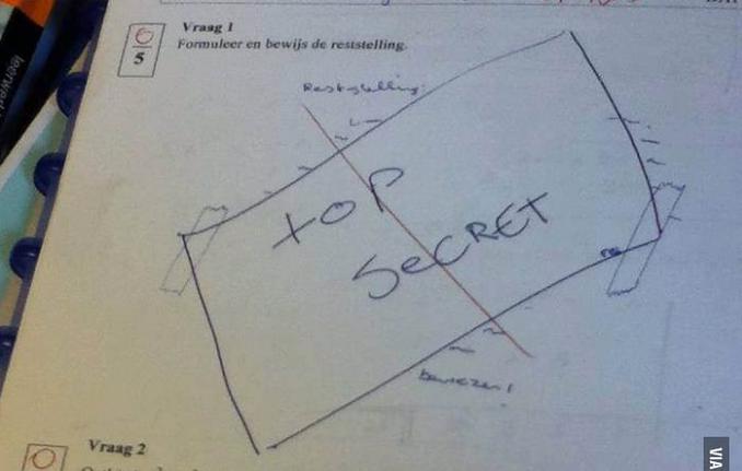 Respuesta graciosa ante un examen donde se dibuja un sobre
