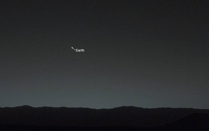 Vista de la tierra desde el planeta Marte