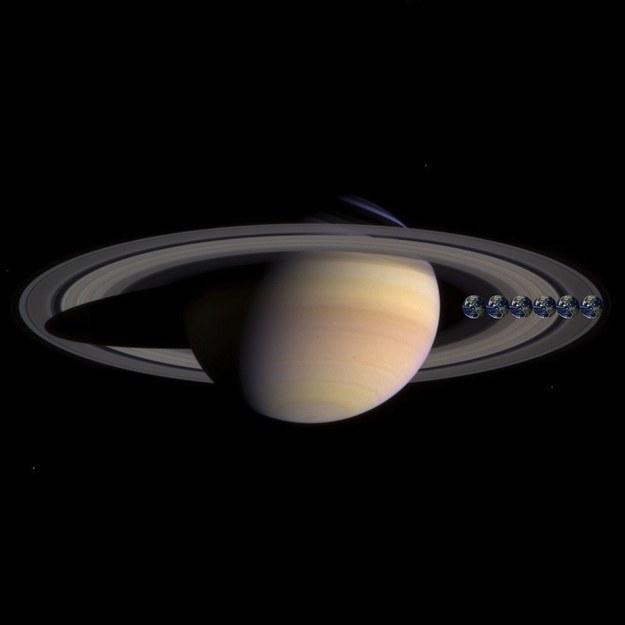 Saturno con el planeta tierra seis veces en un costado