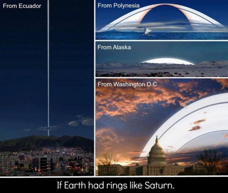 Ejemplo de como se vería el planeta Tierra si tuviera anillos a su alrededor