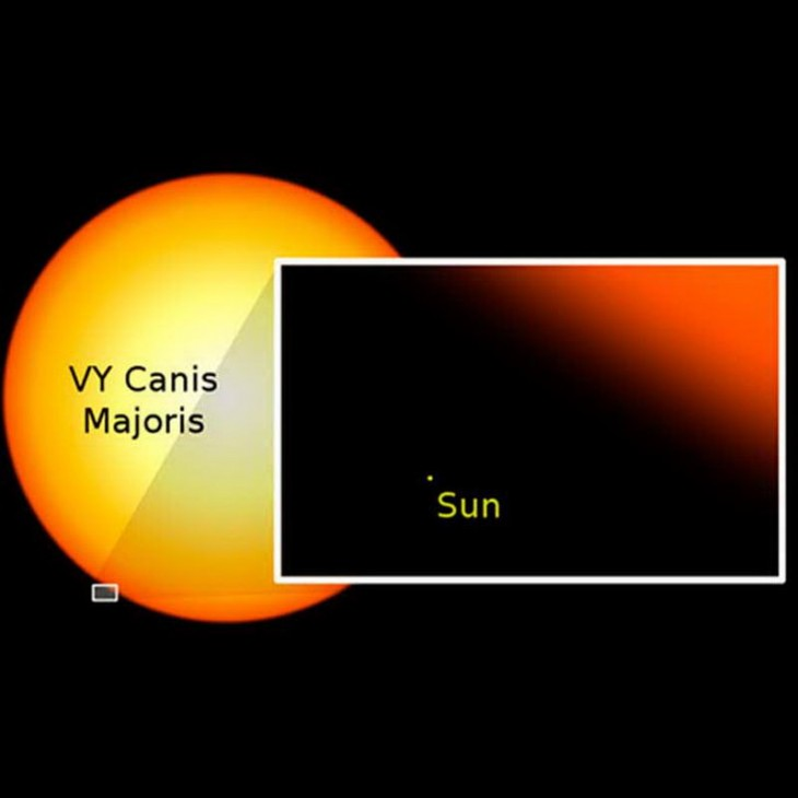 Comparación de la estrella VY Canis Majoris con el Sol