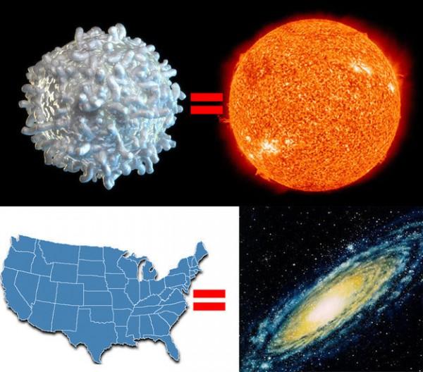 Proceso de encoger el sol, la galaxia y la vía láctea y juntos formarían Estados Unidos