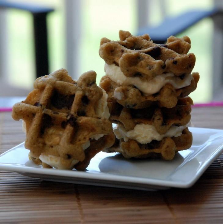 Galletas de helado estilo waffle