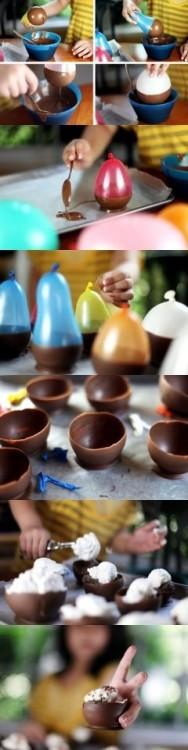 Procedimiento de preparación de recipientes de chocolate para helado