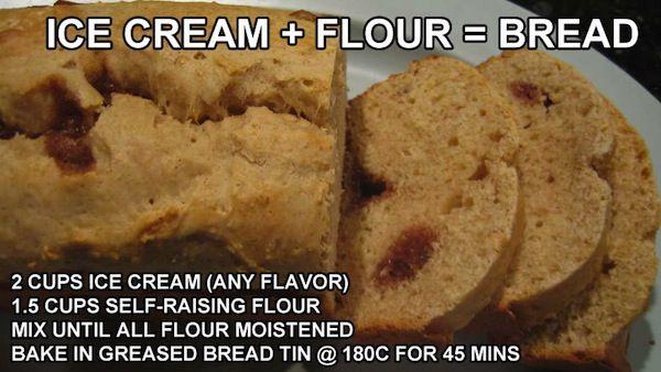 Receta de combinar harina y helado da como resultado pan