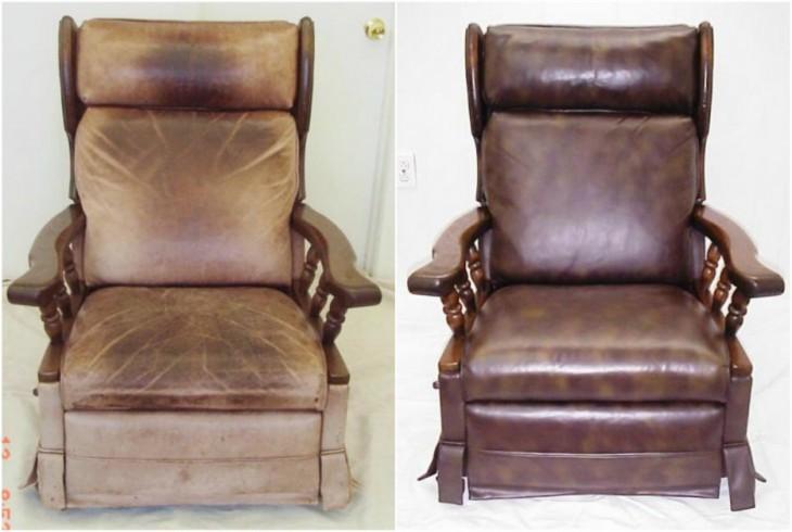 Antes y después de la crema de zapatos en un sillón de cuero