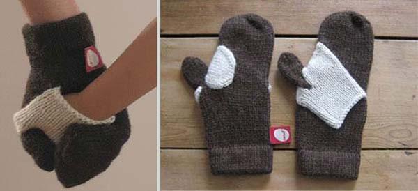 Un estilo de guante donde tu hijo puede meter la mano al tuyo