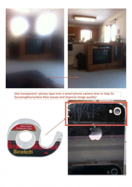 Utiliza cinta adhesiva transparente sobre la cámara de tu celular para mejorar la calidad de tu imagen y enfocar mejor