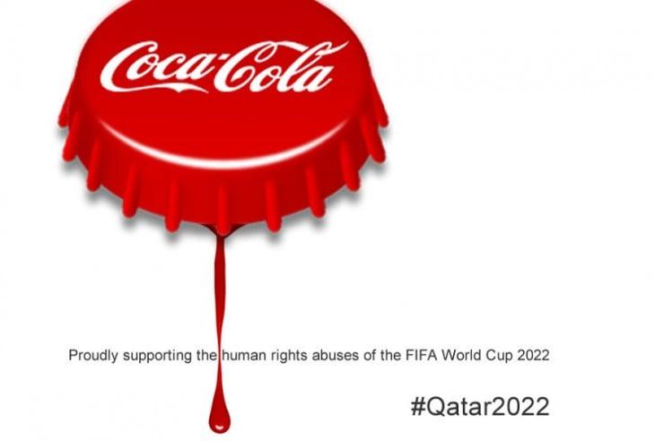 anti logos FIFA tapa de coca cola sangrando