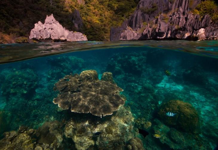 cueva con arrecifes y agua cristalina