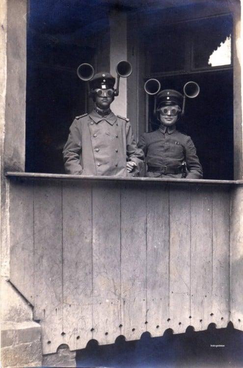 Audífonos para escuchar aviones Primera Guerra Mundial