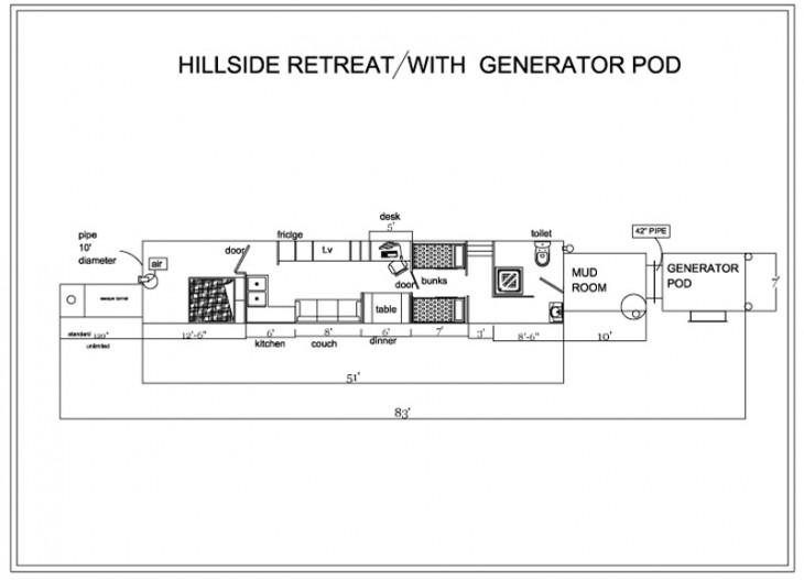 planos de casa subterranea con generador