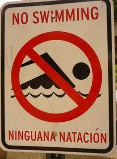 las peores ttraducciones de carteles del mundo NINGUNA NATACION