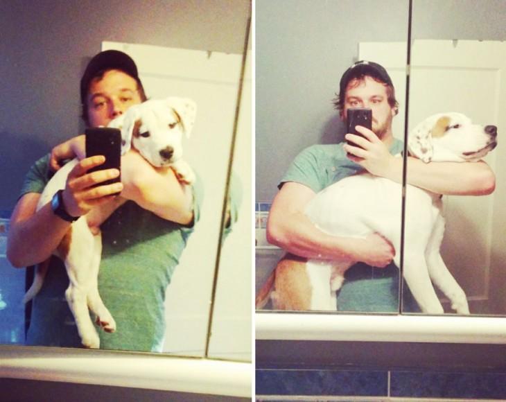 muchacho con perro blanco en el brazo