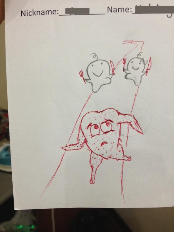 dibujo de pollo sin cabeza