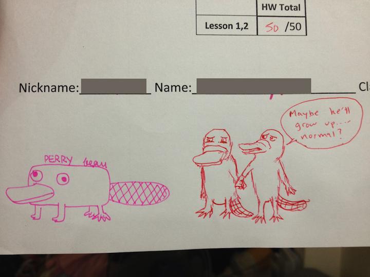 dibujo en examen de patos