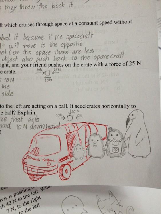 dibujo en examen de un auto y animales