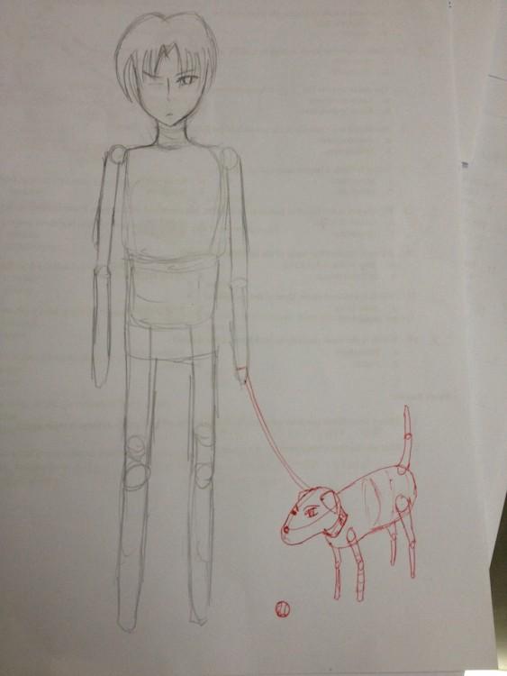 dibujo de un muchacho y perro
