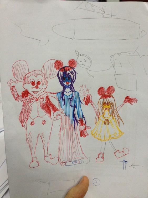 dibujo en un examen de los personajes de disney