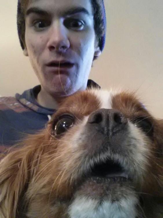 hombre y caniche en selfie