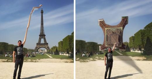 pide le photoshopien la torre eiffel bajo su mano