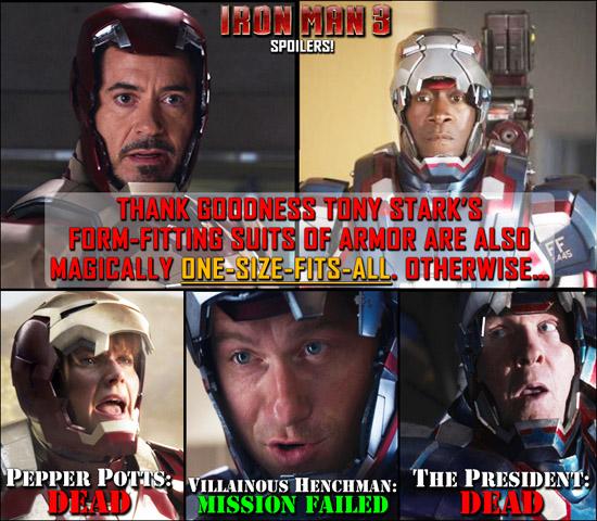 personajes de iron man 3 que usaron el traje de tony starks