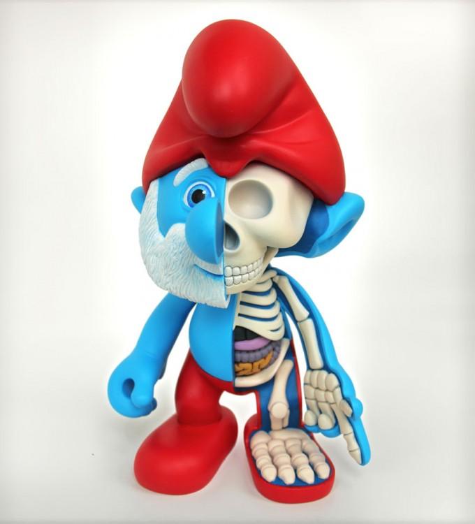 papa pitufo y su esqueleto