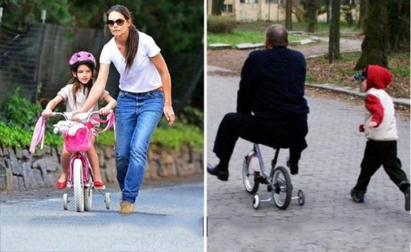 padres vs madre paseando en la bicicleta