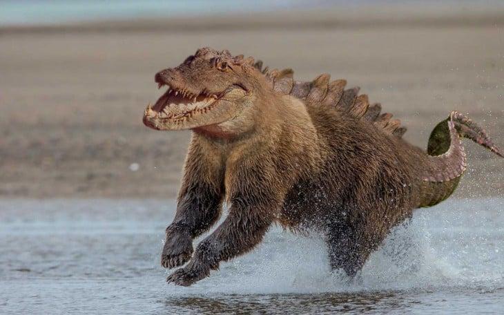 oso con cara y cola de cocodrilo