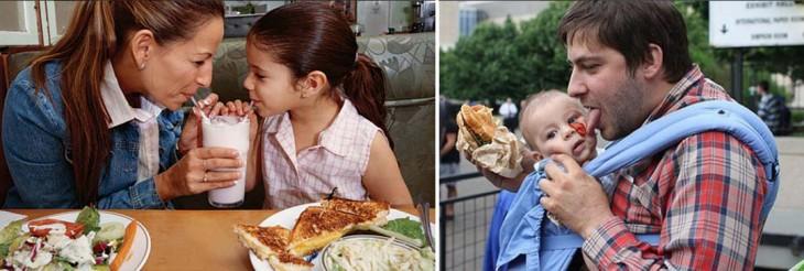 padre vs madre graciosos dandole de comer