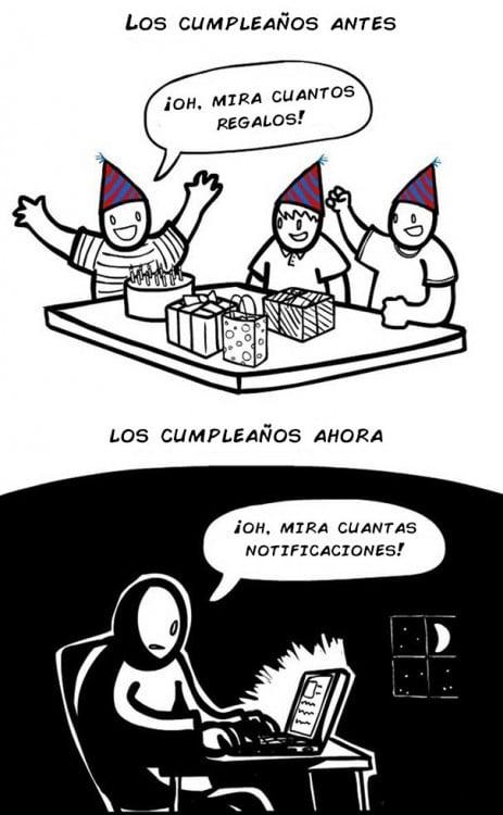dibujos de como han cambiado la celebración de los cumpleaños