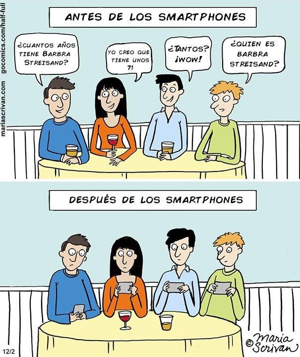 ilustración de como han cambiado las reuniones entre personas al pasar los años