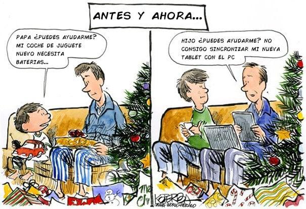 ilustración que muestra el antes y después de las navidades entre un padre con su hijo