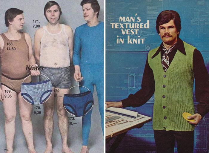 hombres de los 70 en calzones con sueter
