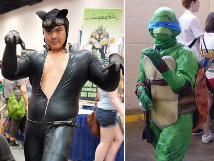 cosplay disfrazado de gatubela y de tortuga ninja