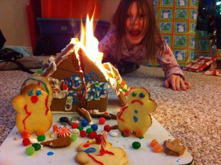 niña quemo su pastel