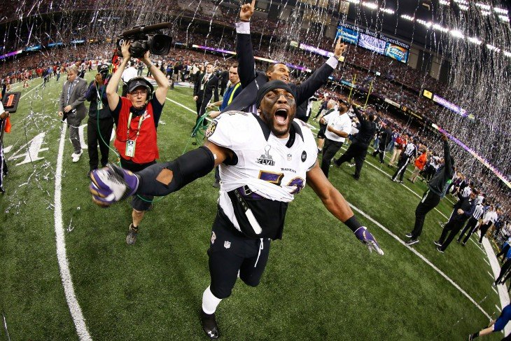 RAY LEWIS HAPPY PLAYER TO WIN