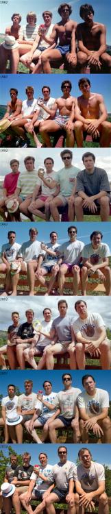 foto anual durante 7 años de estos amigos que aún viven todos