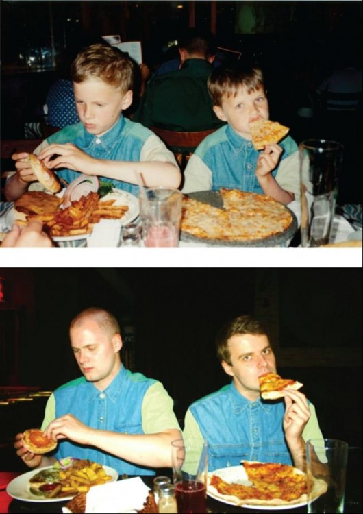 ellos comiendo pizza