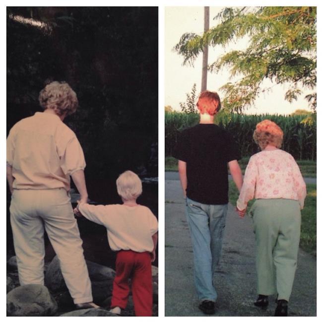 abuelita y nieto caminando juntos