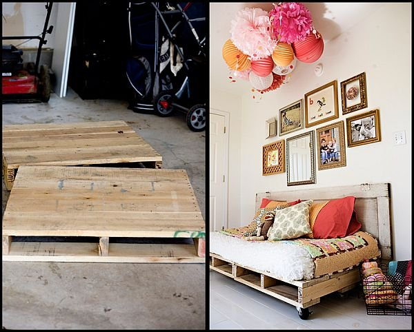base de cama hecha con pallets diy