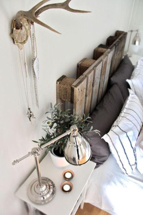 cabecera de cama hecha con pallets diy