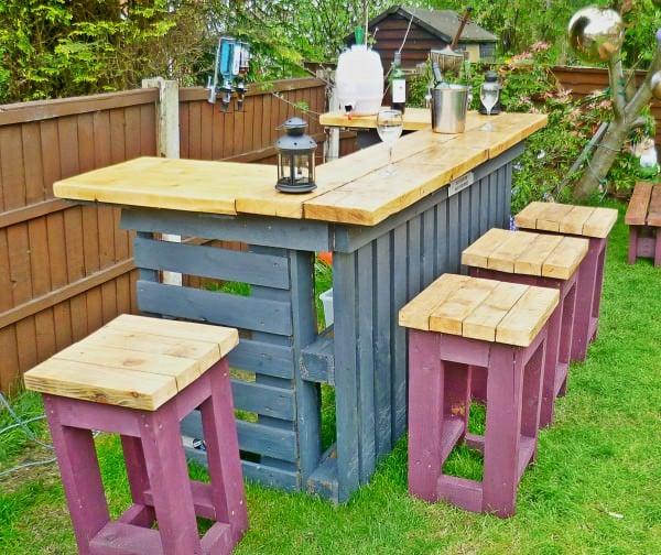 barra para jardin hecho con pallets diy