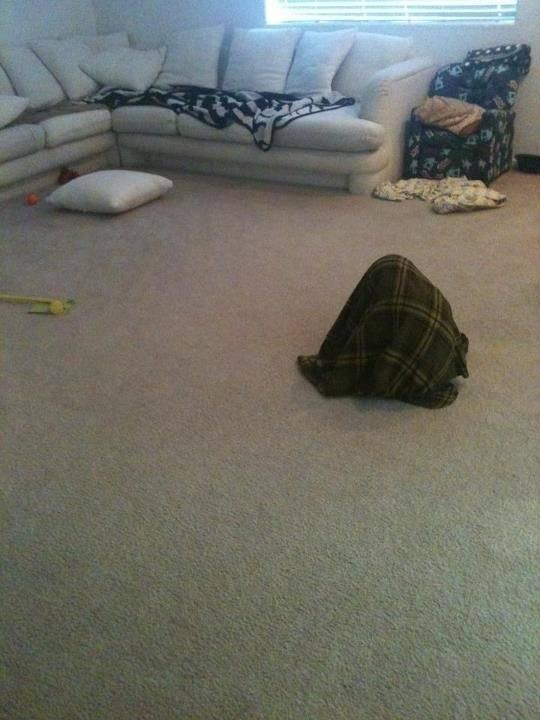 sala de una casa donde un niño esta escondido bajo una sabana