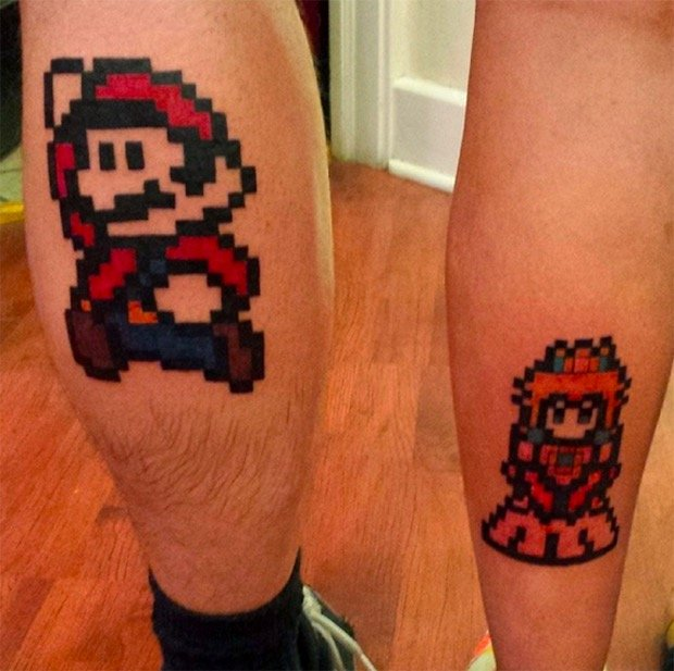 tatuaje para parejas de mario bros couple gamer tattoo mario bros