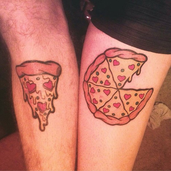 tatuajes originales de pareja  pizza lover couple tattoo