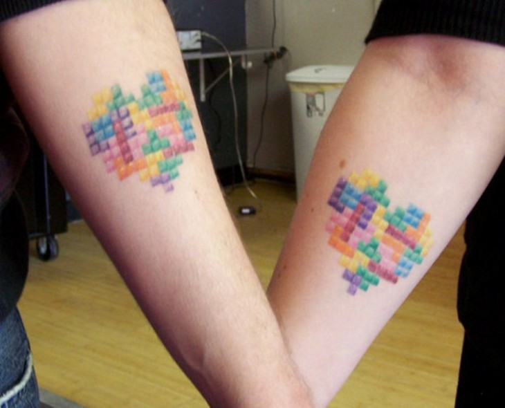 corazones de tetris tatuajes de parejas  couple tattos
